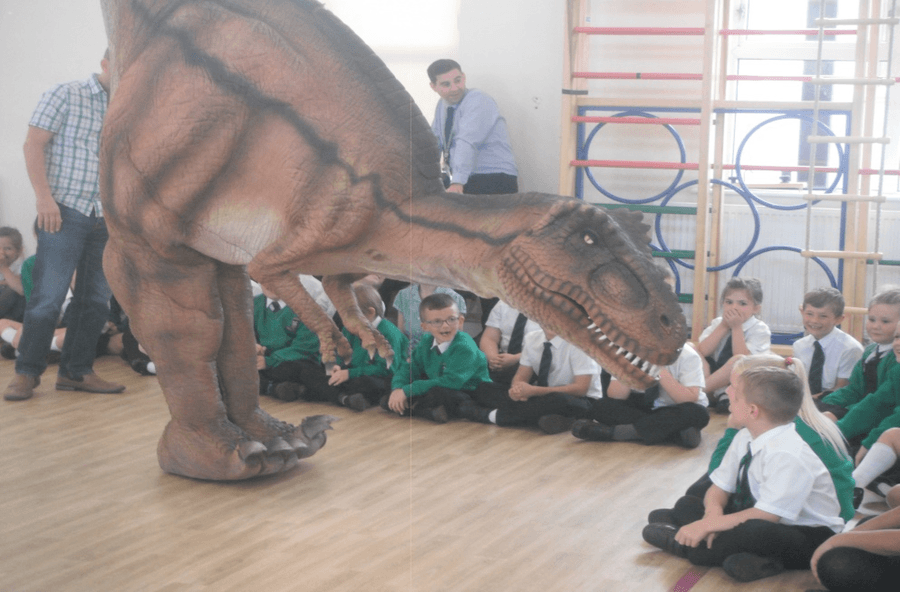 Year 3 Children had a visit ftrom a T-rex!