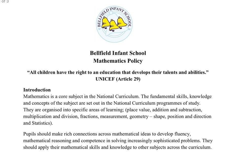 Bellfield Infant School - Mathematics