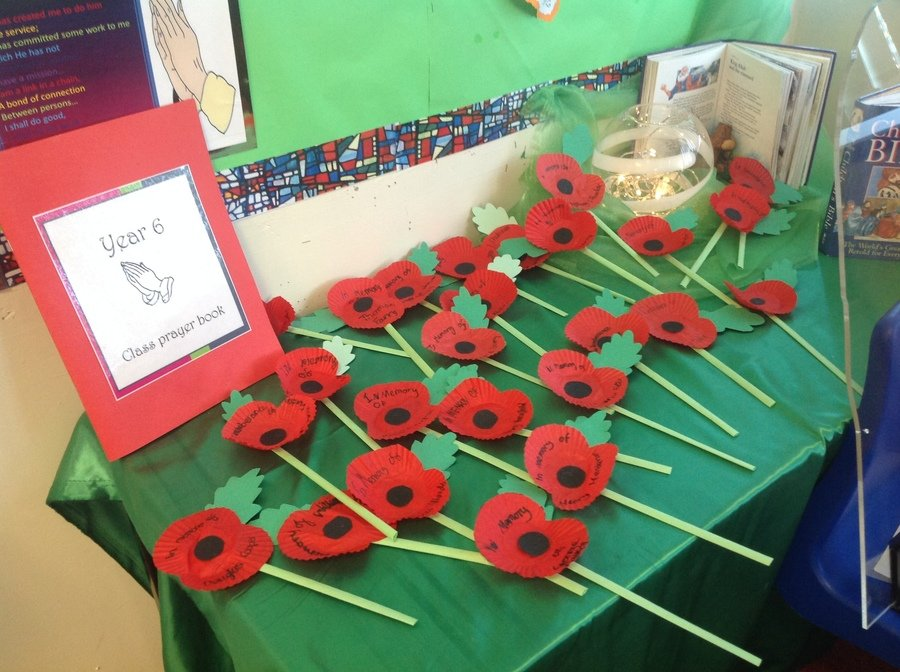 Year 6's Prayer Table after the visit from Chapel Allerton War Memorial