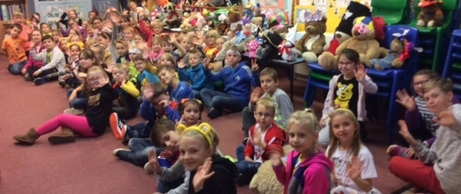 The children supported Children in Need this year by wearing something bright or spotty  for a donation.  There was also a teddy bear head wear competition and a cake sale.