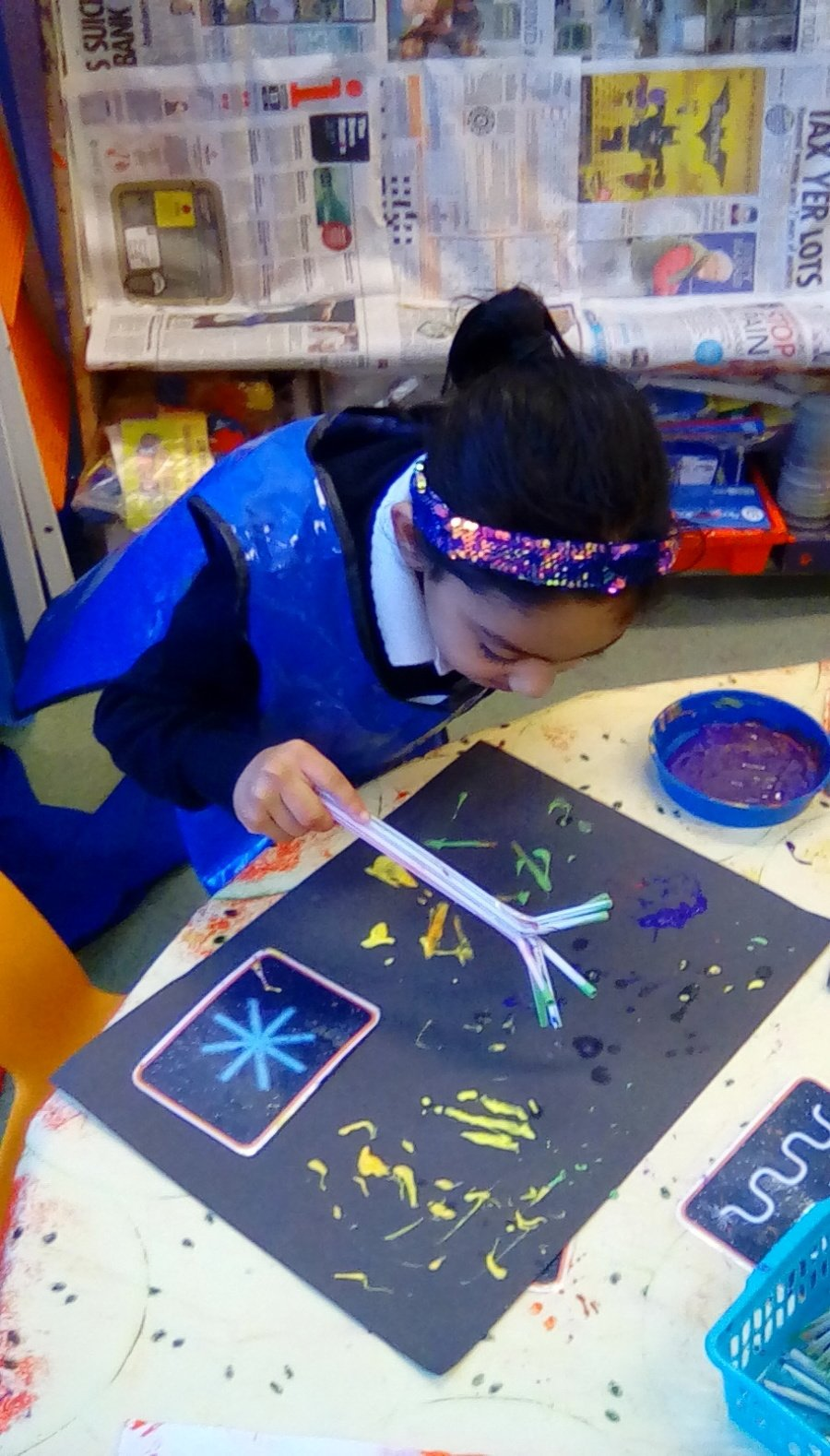 Creating firework pictures using paint and a variety of printing tools.