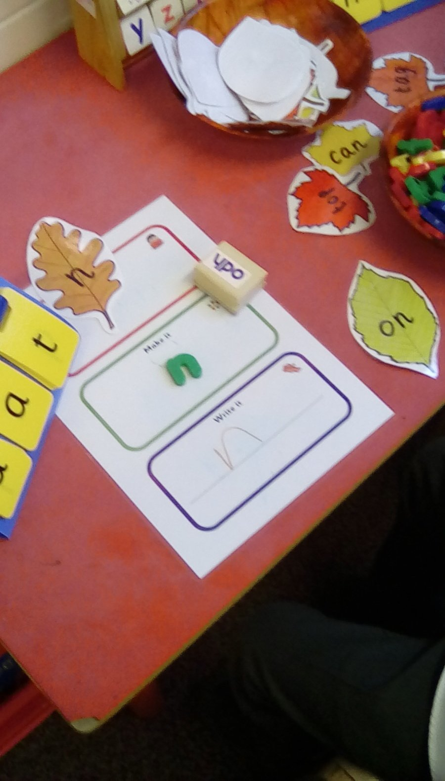 Applying phonic knowledge to writing by writing phonemes/letter sounds and short  words.