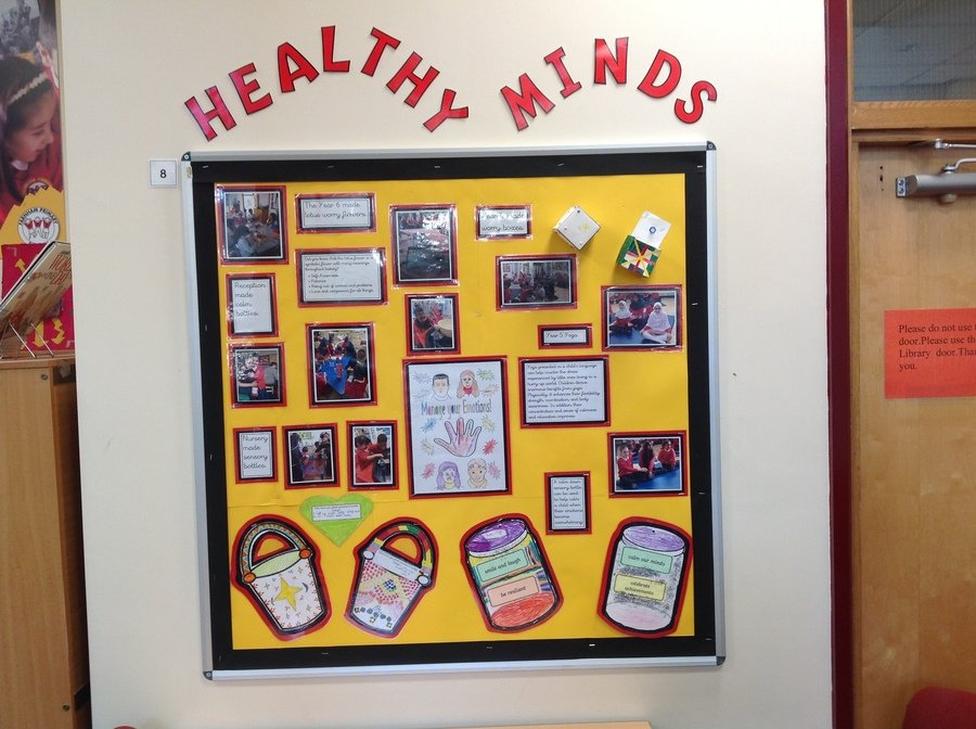 Our healthy minds display is in the library.