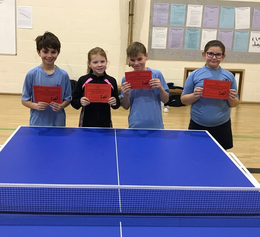 Congratulations to our U11 Table Tennis team: Lottie, Luke, Brooke and Luke who came 2nd in the Hadleigh Pyramid Tournament in November.