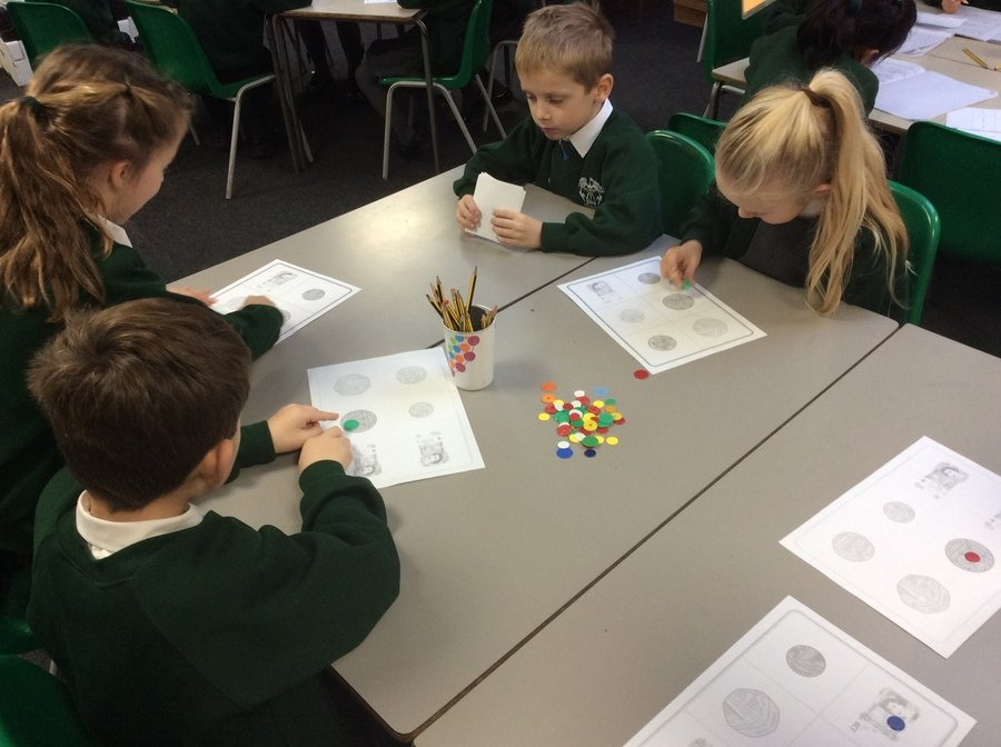 We have been playing coin bingo to revise the value of coins.