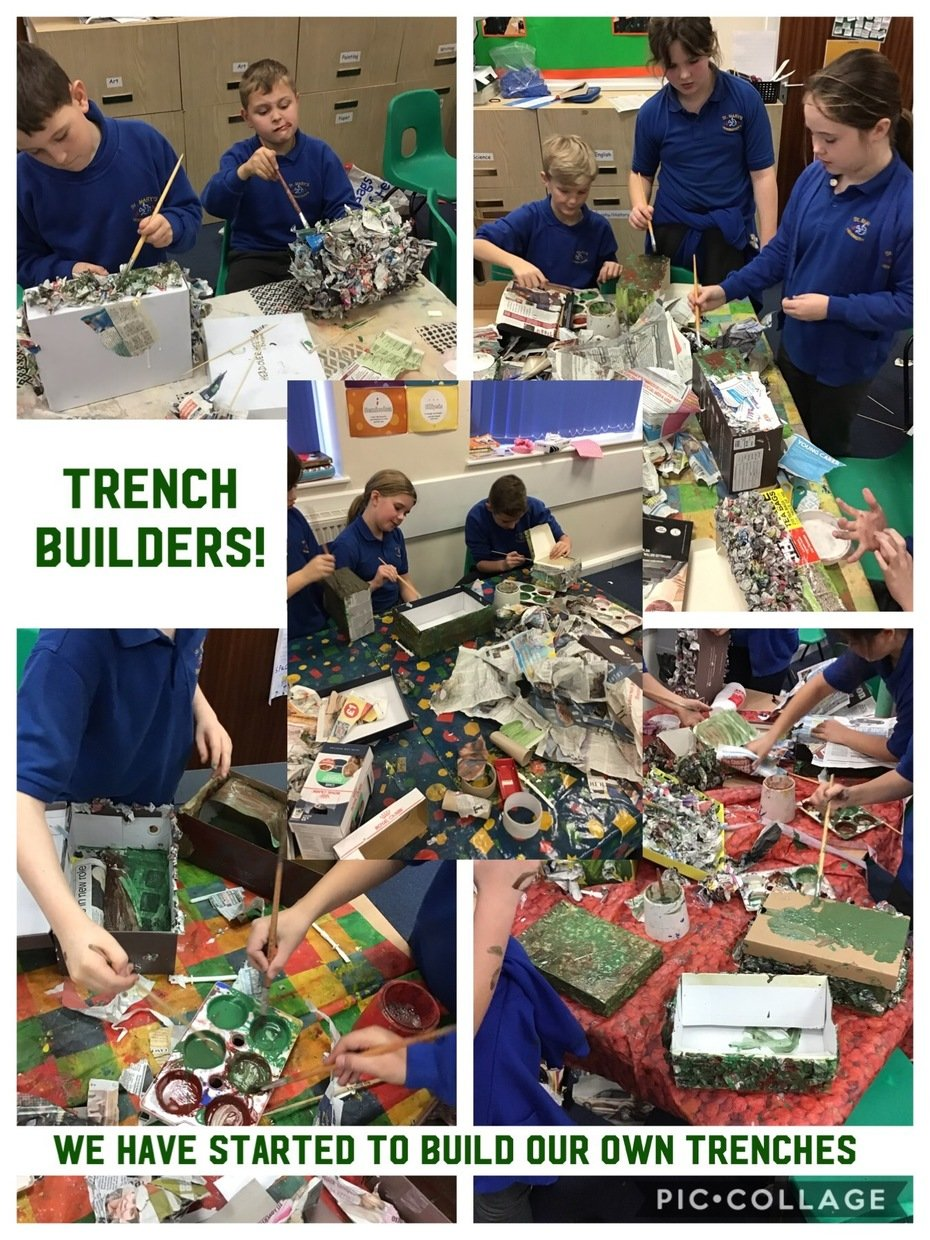 Within our topic lessons, we have been designing our own scale version of a trench. This week started to create them!