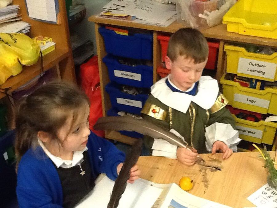 Pupils using quills for writing - History Day 2018