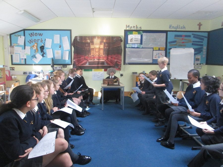 Holding a class debate on fracking using our loan box from the houses of parliament