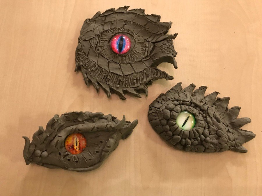 Some of the clay dragon eyes we made to link with Beowolf