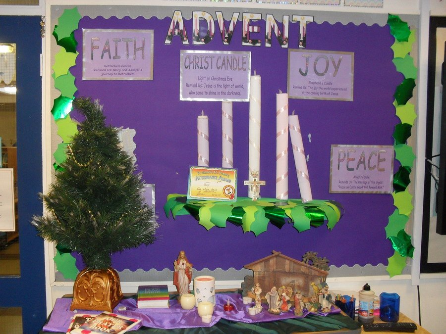 Our classrooms show the advent wreath marking our wait for Jesus.