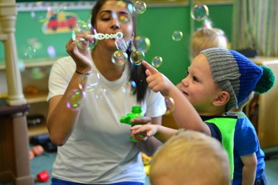 Blowing bubbles, can you catch them<br>
