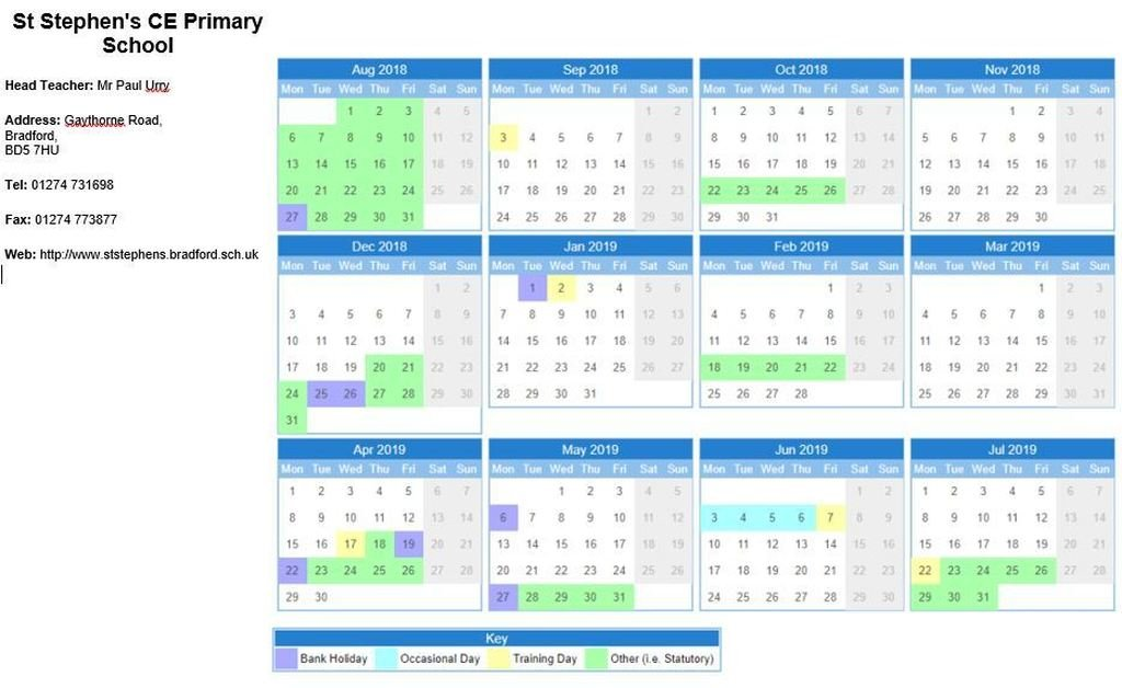St Stephen's CE (VA) Primary School - Times and Dates