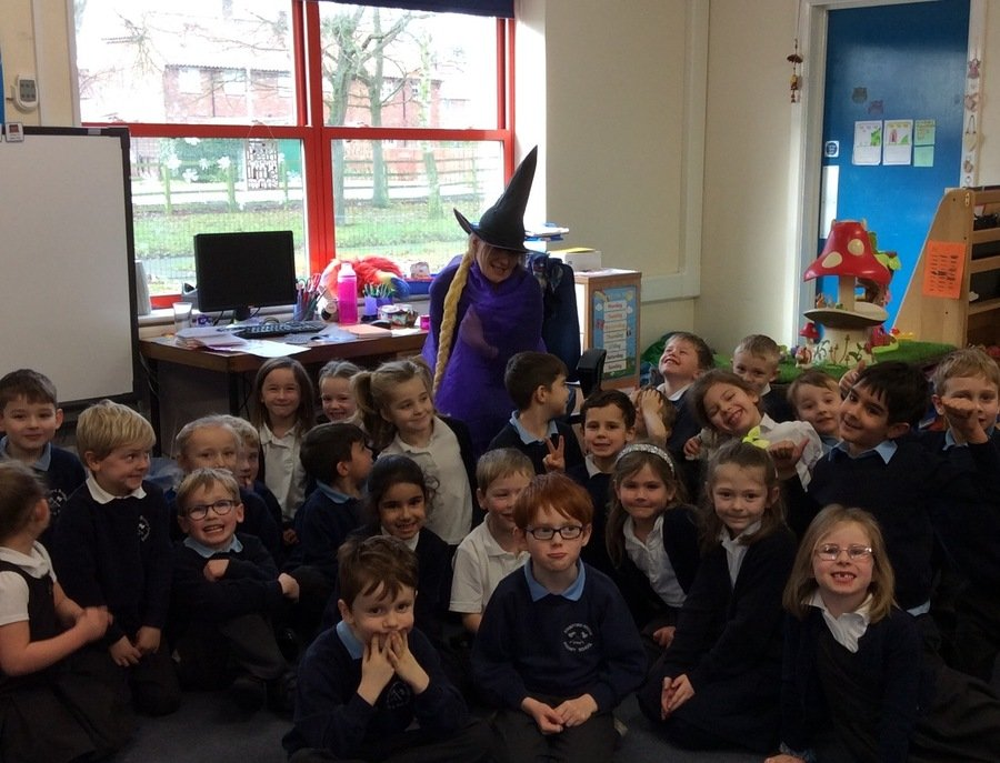 "The Owls practised their questioning skills when the witch from ""Room on the Broom"" popped in to visit!"