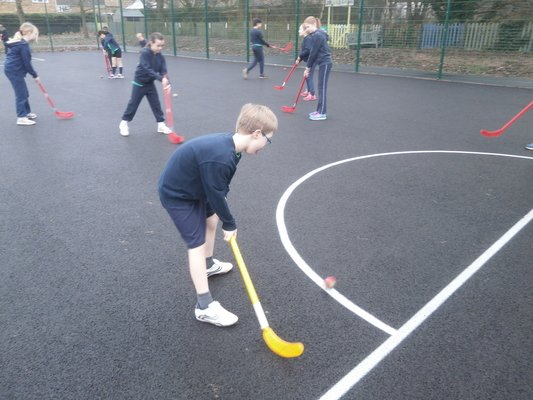 Year 5 using the MUGA for the first time.