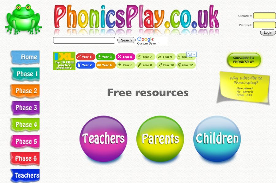 Visit the Phonics Play website for free games and activities