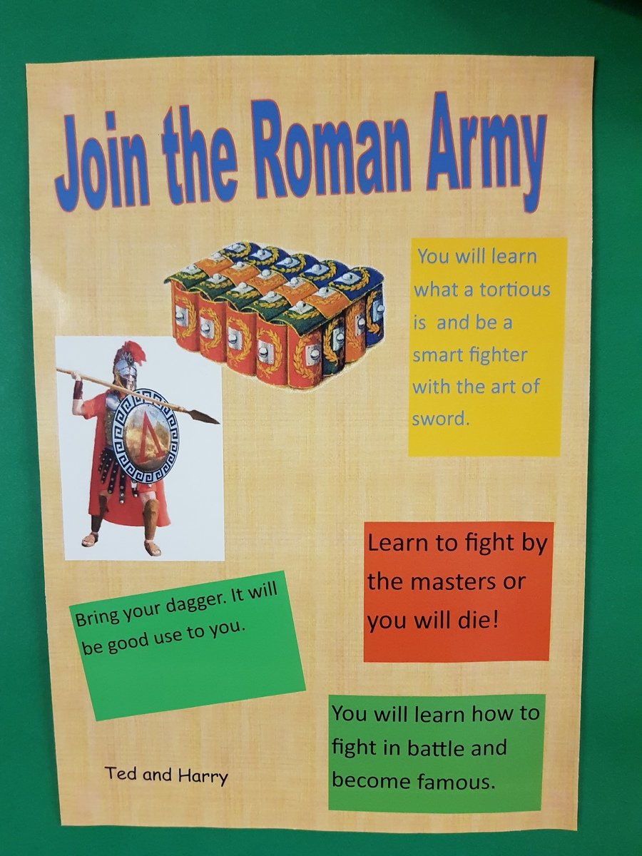 A Year 3 Roman recruitment poster made in Publisher.