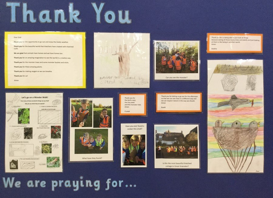 This is our display of the prayers of thanks and artwork inspired by our wonder walk.