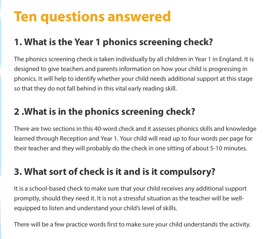 Fequently asked questions about the phonics screening check