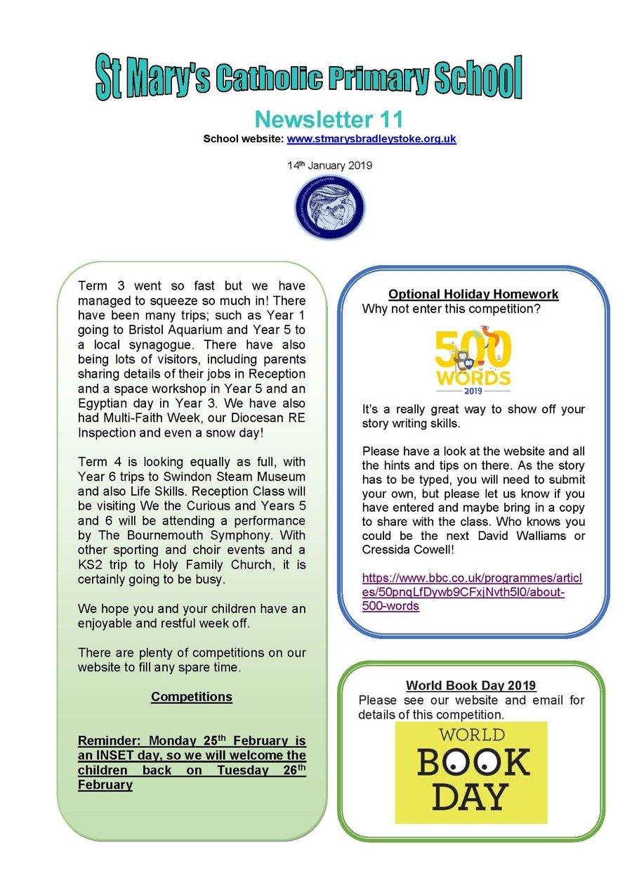 Newsletter  11 - 14.02.19