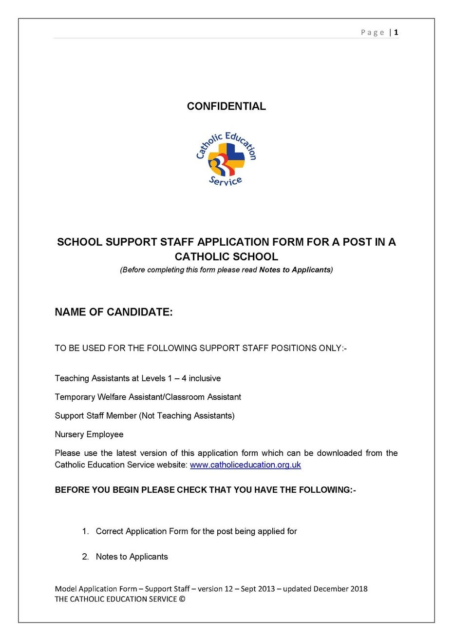ST MARY'S CATHOLIC PRIMARY SCHOOL - Job Vacancies