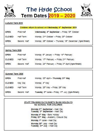 The Hyde School - Term Dates