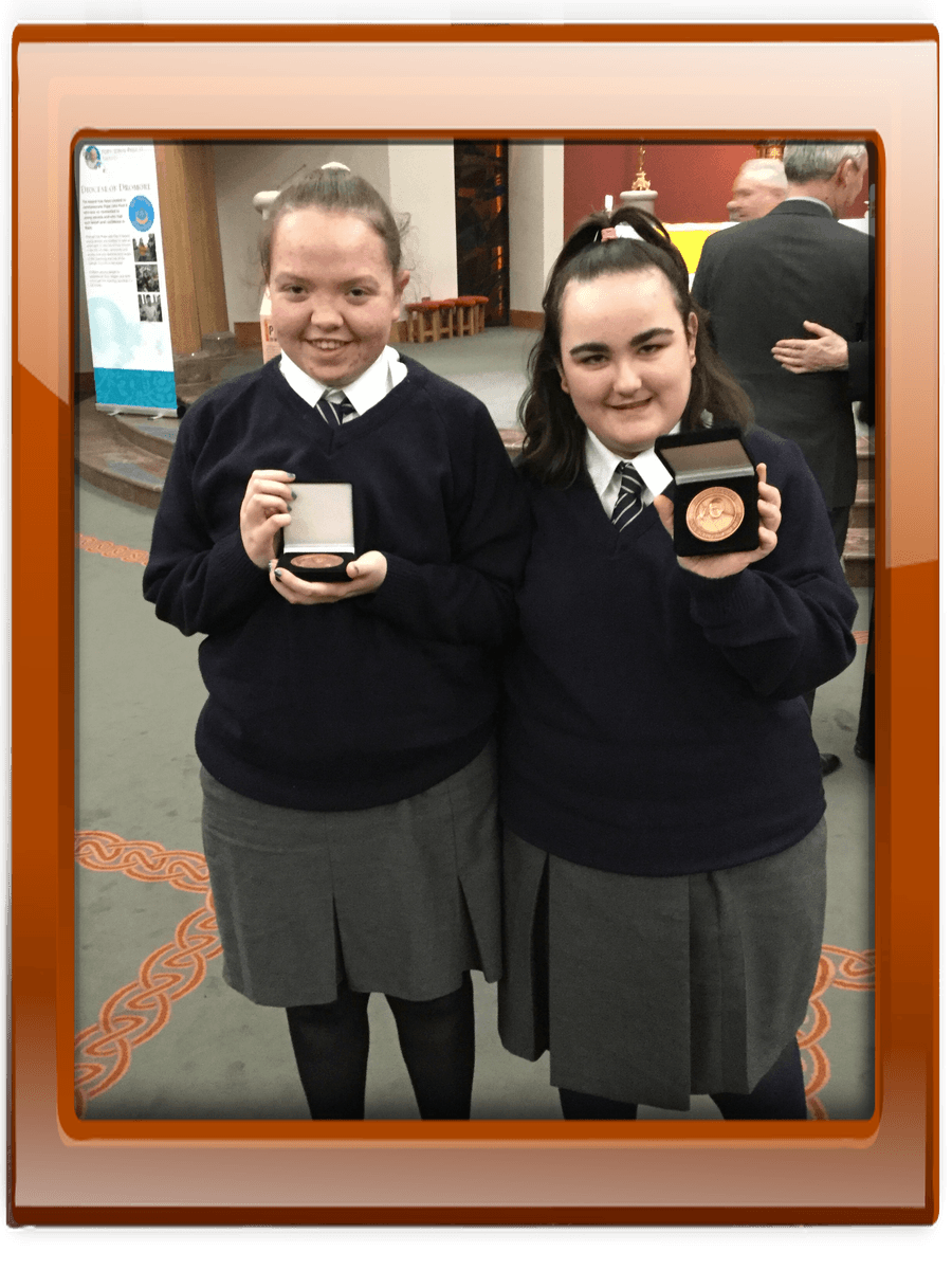 Well done to Pupils Annie Hyde, Shola Heath, Teresa Burns and past pupil Rachel Thompson who received their Bronze Pope John Paul II awars on Wednesday 21st March.