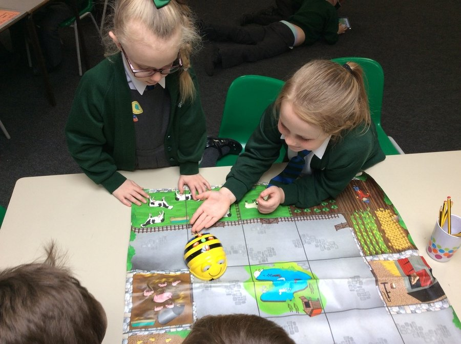 "Lily and Poppy used words like ""clockwise"" to program the beebots."