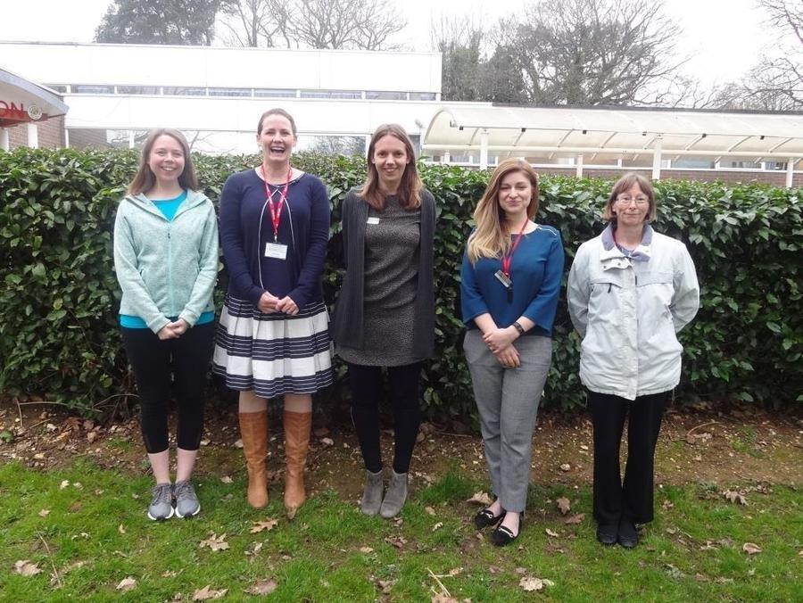From left to right:  Miss Pearmain, Mrs Williams, Mrs Senior, Mrs Simons, & Miss Ekless