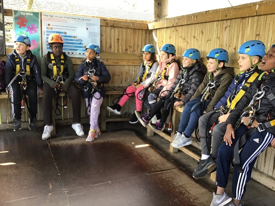 River Team lining up to zoom down the Zip Wire!