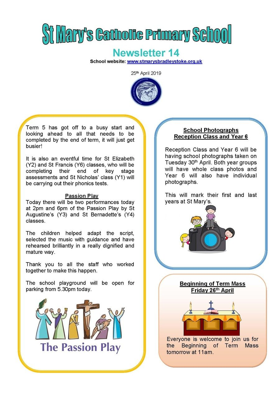 Newsletter  14 - 25.04.19