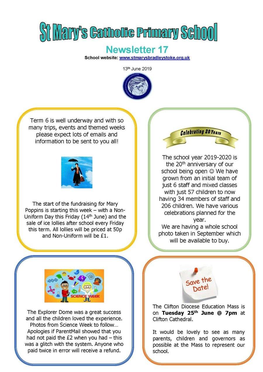 Newsletter  17 - 13.06.19
