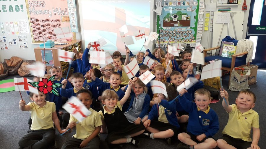 Reception with the St George's flag they've made.