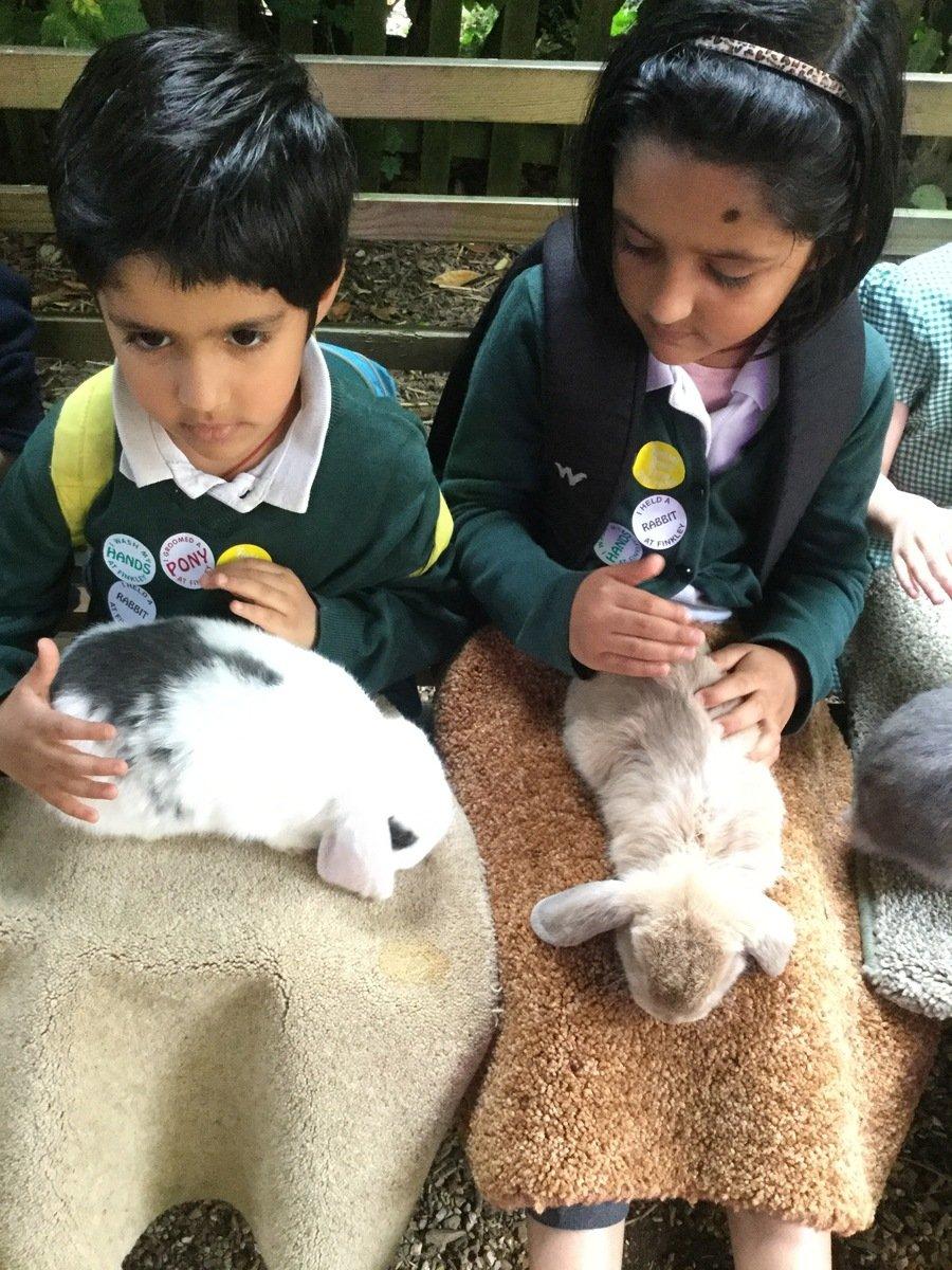 Cuddling fidgety bunnies!