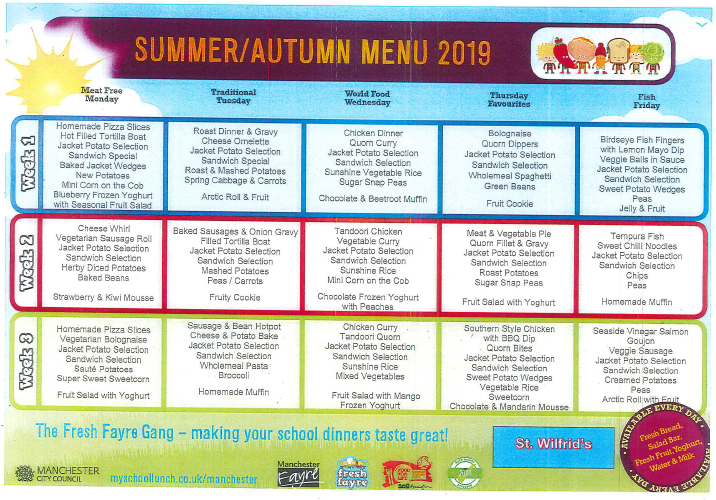 Summer and Autumn Menu 2019