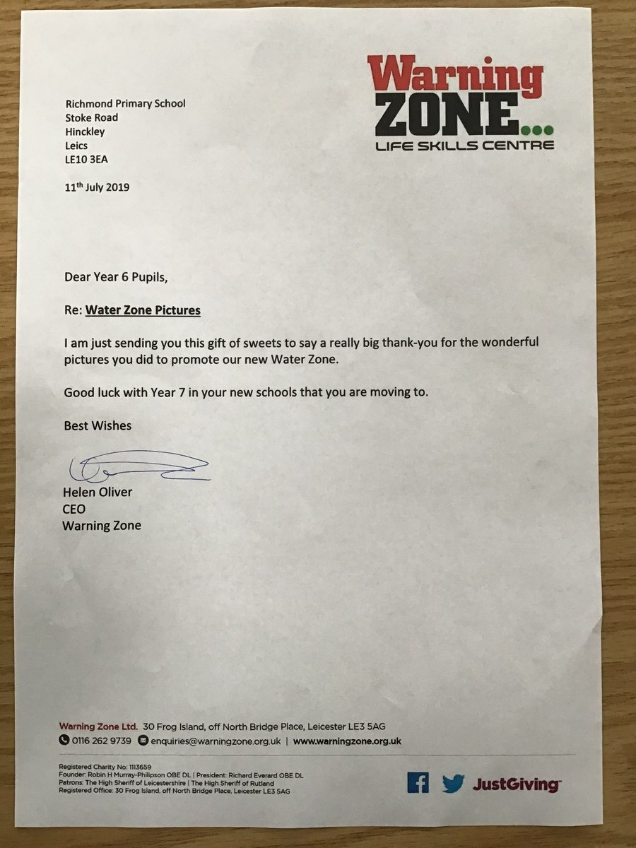 This wonderful letter just arrived in the post to say thank you from the Warning Zone.