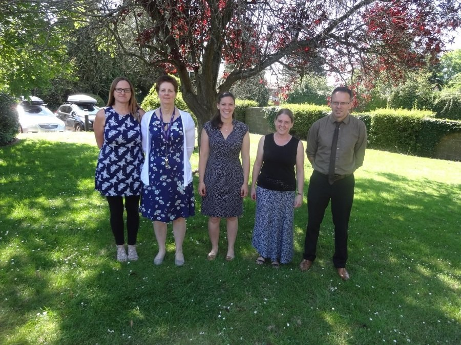 From left to right:  Mrs Harris, Mrs Barclay, Mrs White, Miss Elwes & Mr McKenna