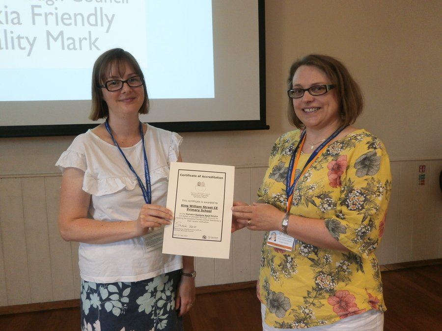 Mrs Hill receives our Dyslexia Friendly Reverification Award