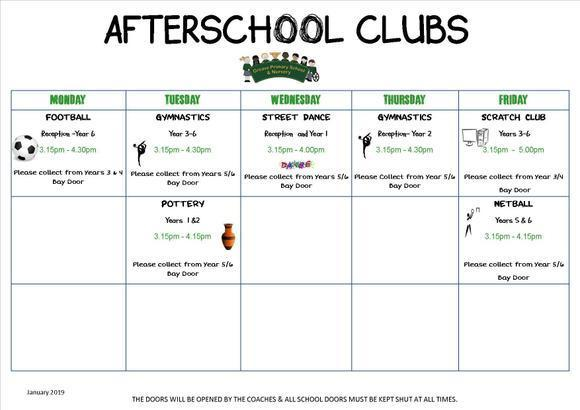 Afterschool Clubs January - February 2019 1