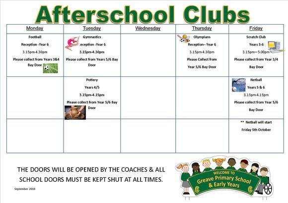 Afterschool Clubs Sept-Oct 2018 1