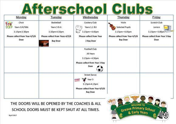 Afterschool Clubs April-May 2018 1
