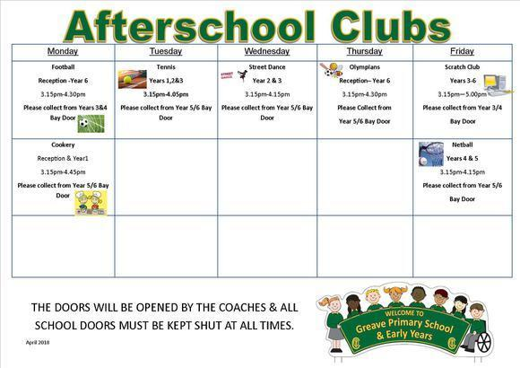 Afterschool Clubs April 2018 1