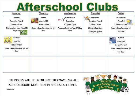Afterschool Clubs March 2018 1