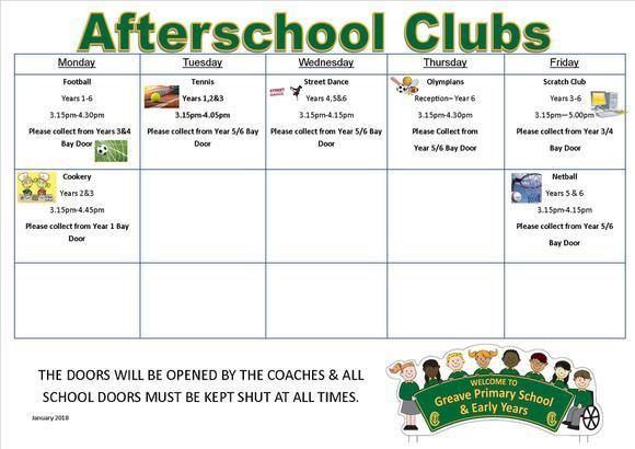 Afterschool Clubs January-February 2018 1