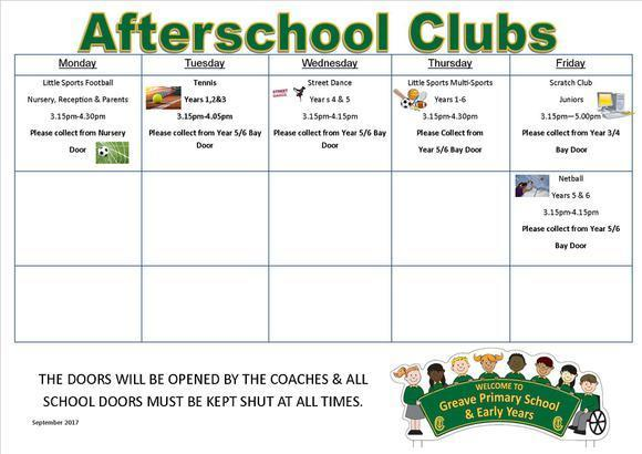 Afterschool Clubs September 2017 1