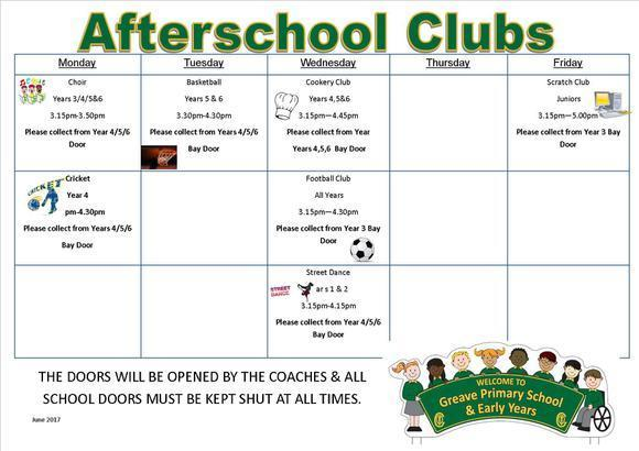 Afterschool Clubs June 2017 1