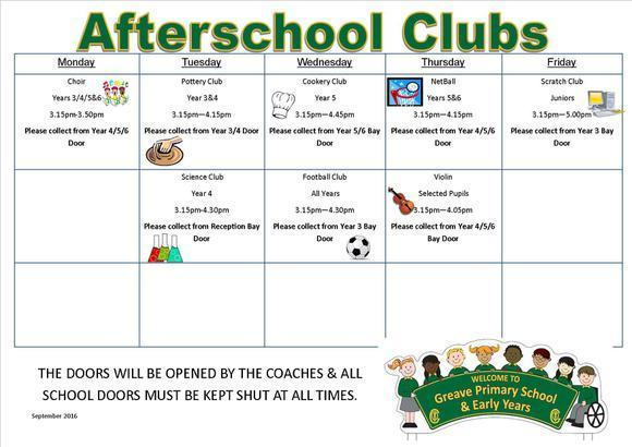 Afterschool Clubs November 2016 1