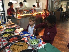 Our delicious salad bar at lunchtime