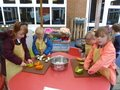 Taking food to the food bank, chopping, cooking and eating harvest vegetable soup (15).JPG