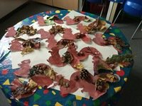 We have made some great squirrels using Autumn things.