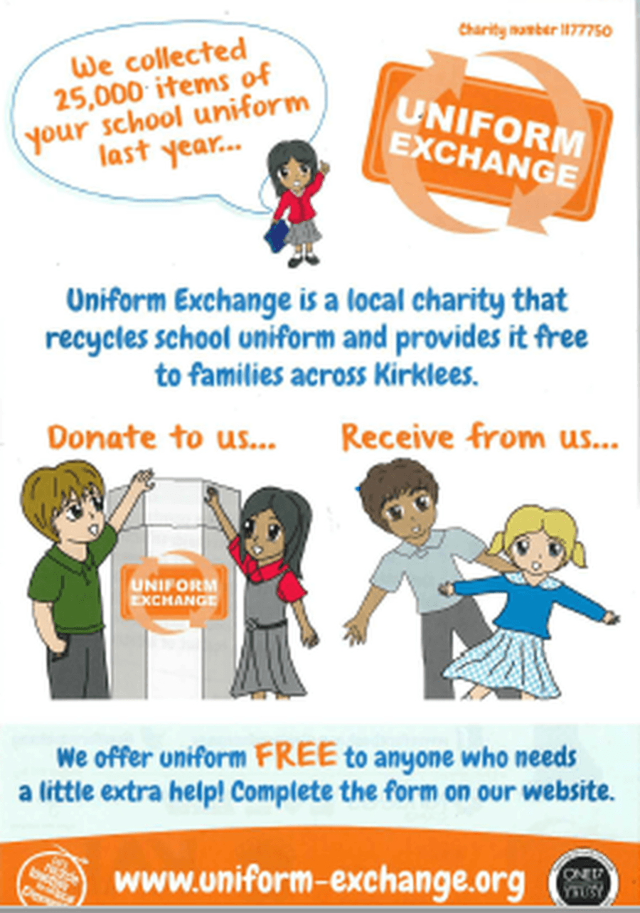 Click on the link to take you to the Uniform Exhange Website.  This is a great way to recyle.  You can also donate to this service using the recyle box in the main entrance.